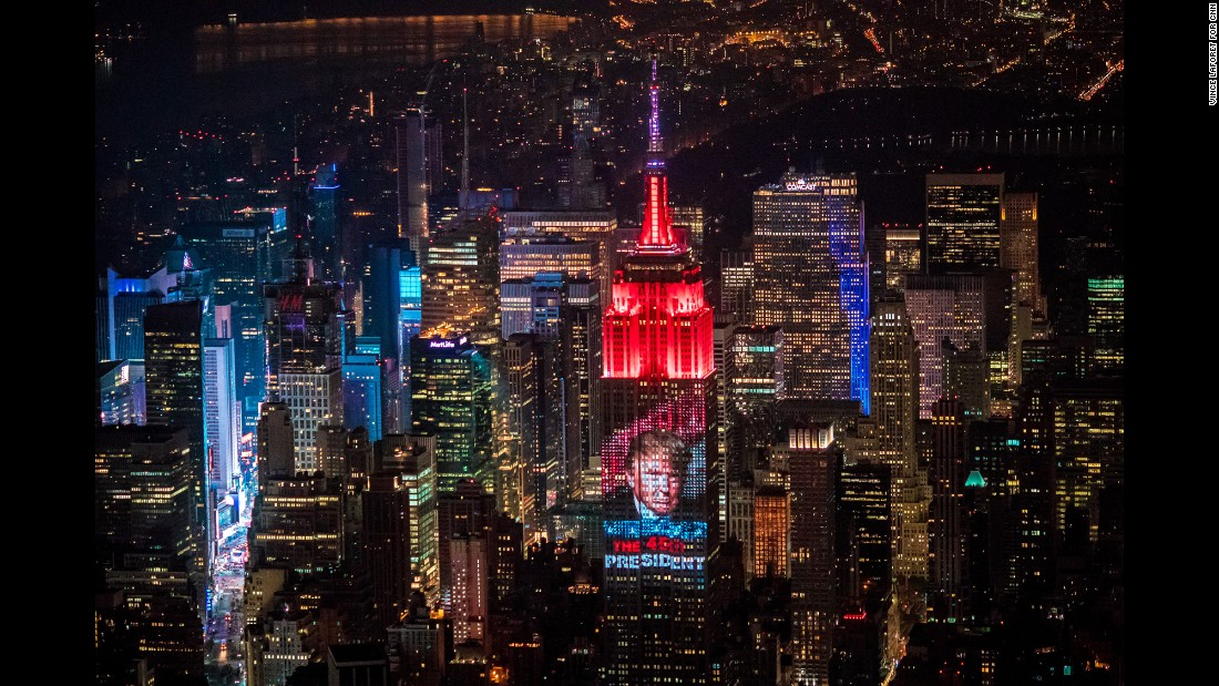 <strong>November 9:</strong> An image of Donald Trump is projected onto the Empire State Building in New York after Trump became President-elect of the United States.
