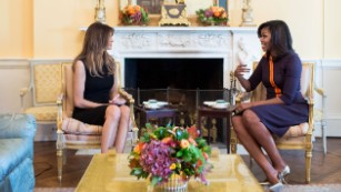 Melania Trump, Michelle Obama sit down for tea in the White House