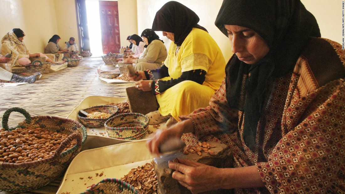The booming business has played a crucial role in progressing the lives of women who live in Morocco. Previously it was uncommon for them to work outside their homes, but now they're able to earn a decent wage by crushing the tough Argan tree nuts.