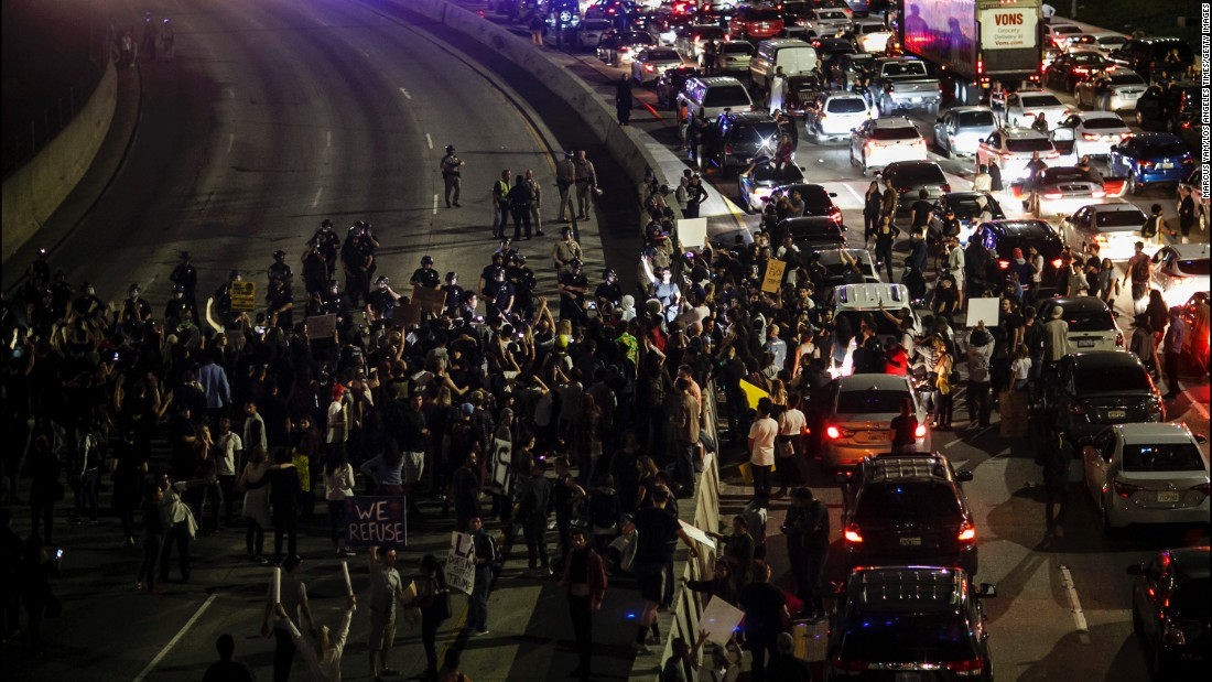 Demonstrators flood the 101 Freeway in Los Angeles on November 10.