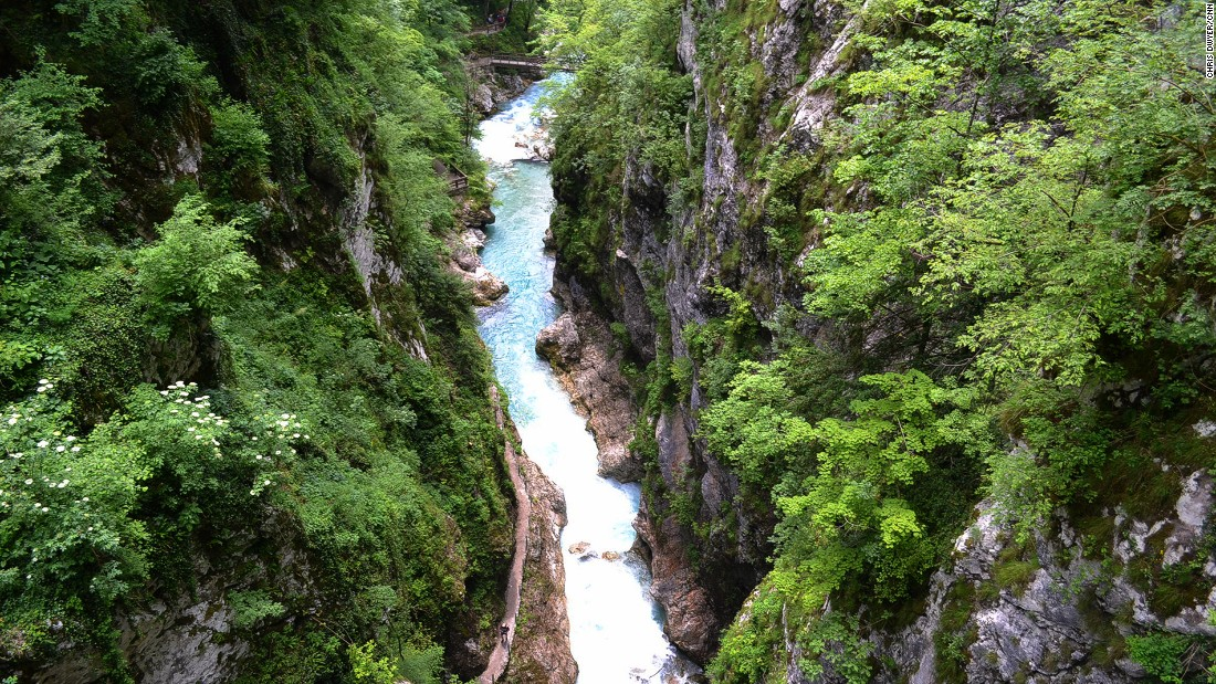 Triglav National Park is known for breathtaking views of aquamarine waters and rapids running through limestone gorges.