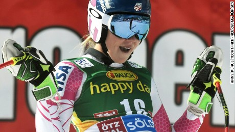 Mikaela Shiffrin of of USA reacts after the second run of the ladies' giant slalom of the FIS ski world cup in Soelden, Austria on October 22, 2016. / AFP / APA / HANS KLAUS TECHT / Austria OUT        (Photo credit should read HANS KLAUS TECHT/AFP/Getty Images)