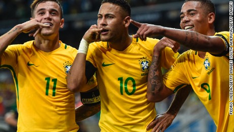 Brazil cruised to victory with both Coutinho and Neymar both on target.