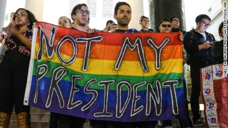 Protesters take part in a demonstration against Donald Trump's presidential election victory in Los Angeles.