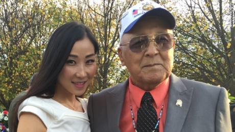 Hannah Kim with Don Loudner of the National American Indian Veterans Association.