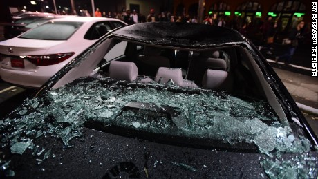 Cars at a Toyota dealership in Portland were smashed during Thursday night's protests.