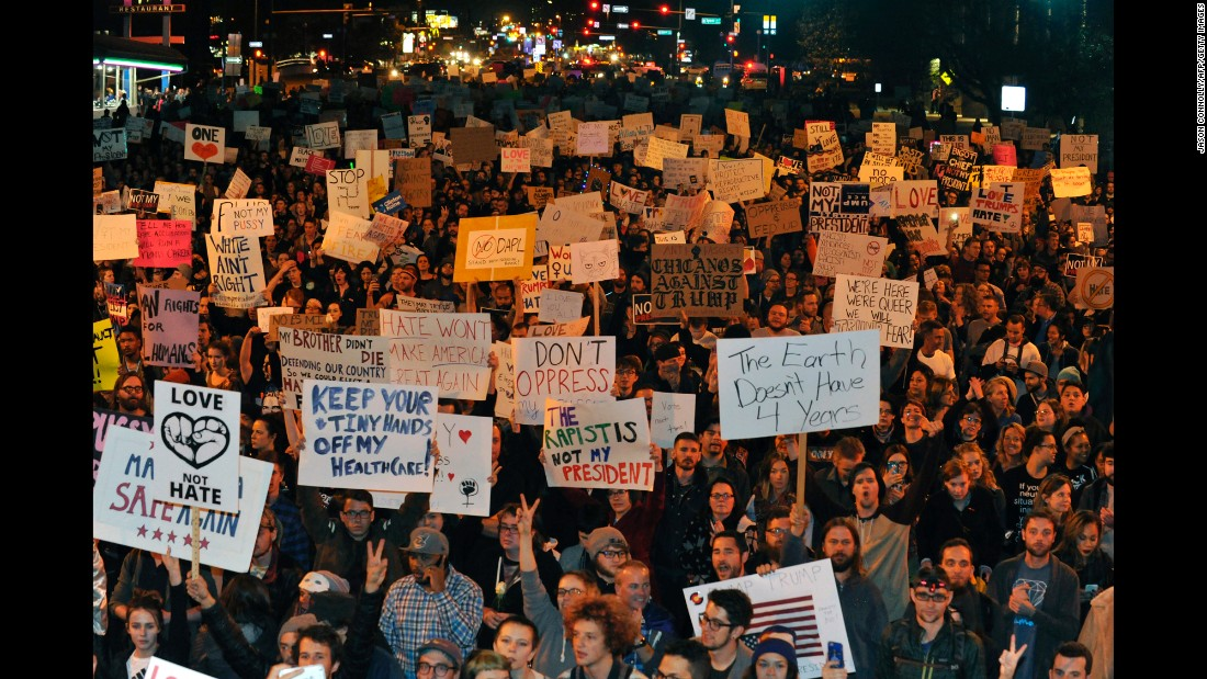 Demonstrators protest in Denver on November 10.