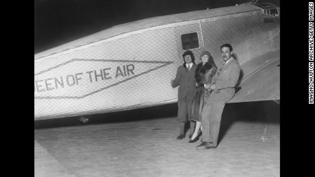 Pilots Charles A. Levine, Mabel Boll and Bert Acosta at the Le Bourget airport with  The Queen of the Air, on January 1928. Boll wanted to use it to fly across the Atlantic, but Amelia Earhart beat her to it later that June.