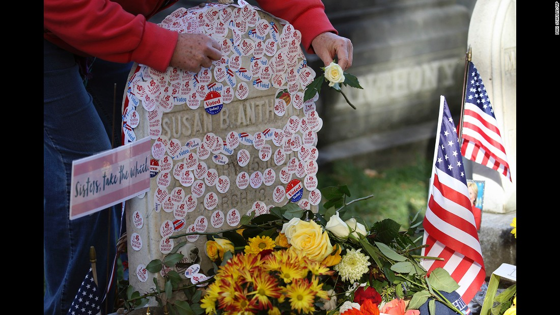 """""""I voted"""" stickers are placed at the gravesite of Susan B. Anthony in Rochester, New York, on Tuesday, November 8. Anthony, a social reformer who died in 1906, played a major role in the <a href=""""http://www.cnn.com/2016/08/18/politics/gallery/tbt-womens-suffrage/index.html"""" target=""""_blank"""">women's suffrage</a> movement."""