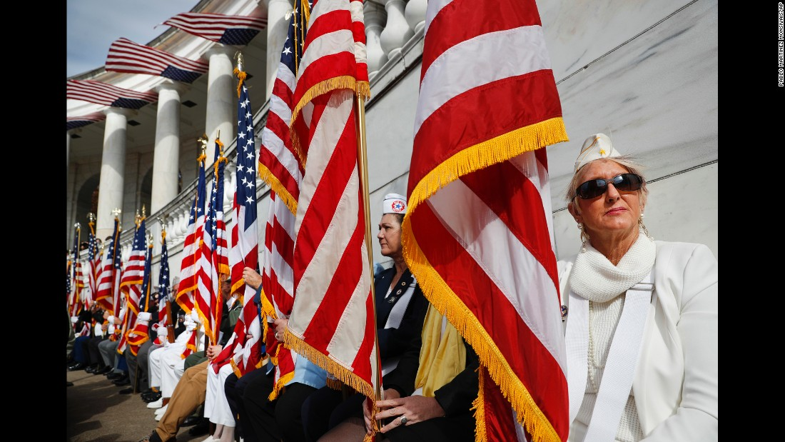 Gold Star mothers listen to President Obama speak during a Veterans Day ceremony in Arlington, Virginia, on November 11.
