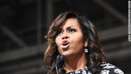 US First Lady Michelle Obama speaks during a campaign rally for Democratic presidential nominee Hillary Clinton in Winston-Salem, North Carolina, on October 27, 2016.  Michelle Obama, surprise star of the 2016 White House campaign, hit the trail Thursday with Democrat Hillary Clinton as the former and current first ladies fight to conquer battleground states before Election Day. / AFP / Jewel SAMAD        (Photo credit should read JEWEL SAMAD/AFP/Getty Images)