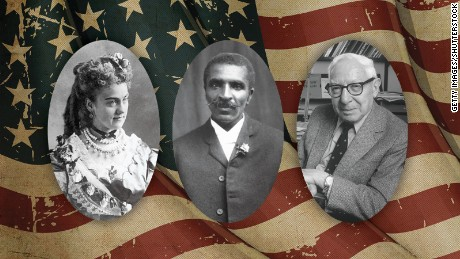 """Three historical figures who helped reinvent America: Ellen Louise """"Nell"""" Curtis, who turned herself into """"Madame Demorest,""""  pioneering mass-produced tissue-paper dressmaking patterns and using her company to promote abolition and votes for women; George Washington Carver, who was born into slavery and became a famed inventor and botanist; and Dr. Isidor Isaac Rabi, an immigrant to the US from Galicia who went on to become a Nobel laureate in physics."""