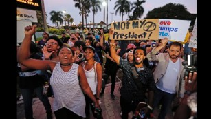 A protest at Bayfront Park in Miami.