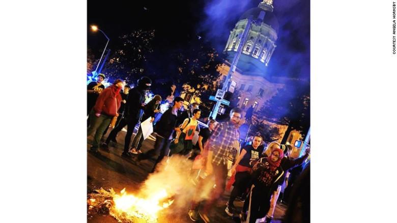 Protestors in Atlanta burned a flag near the Georgia capitol.