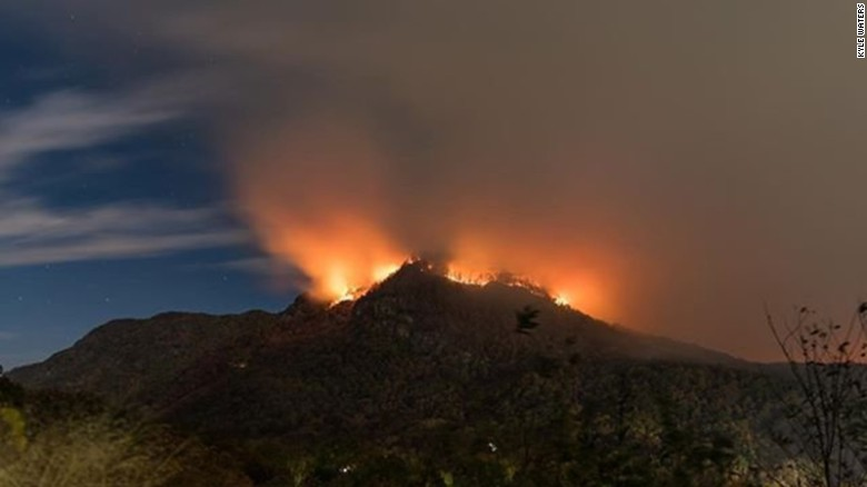 Wildfires, like this one near Lake Lure, North Carolina, are burning across the Southeast.