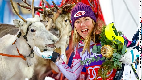 Mikaela Shiffrin takes first place during the women's slalom in Levi, Finland -- winning a reindeer.
