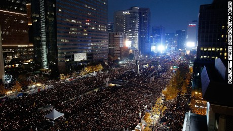 SEOUL, SOUTH KOREA - NOVEMBER 12: Thousands of South Koreans take to the streets in the city center to demand President Park Geun-Hye to step down on November 12, 2016 in Seoul, South Korea. Approximately hundreds of thousands of people joined the anti-government protest Saturday amid rising public frustration for President Park Geun-hye's corruption scandal. (Photo by Kim Hong-Ji-Pool/Getty Images)