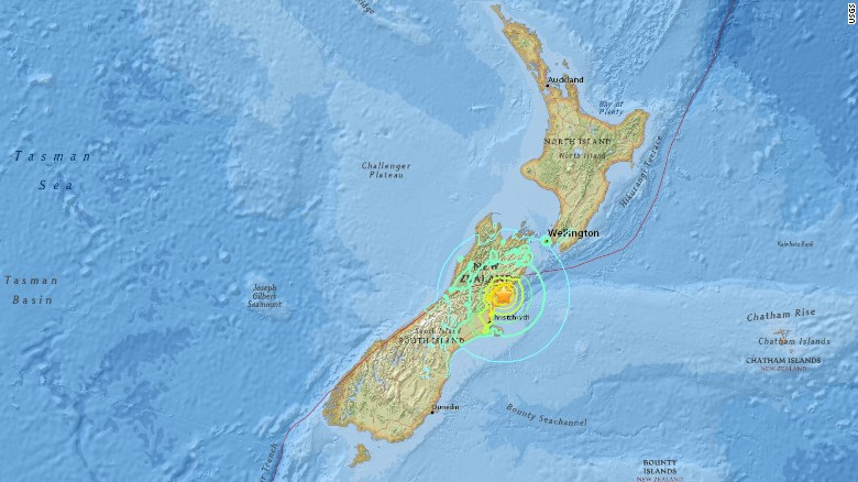 The USGS said the earthquake struck north of Christchurch, a city devastated in 2011 by a powerful temblor.
