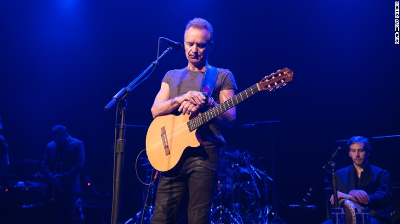 "Amid very tight security and in perfect French, Sting opened a minute's silence at the Bataclan with the words ""we shall not forget them."""