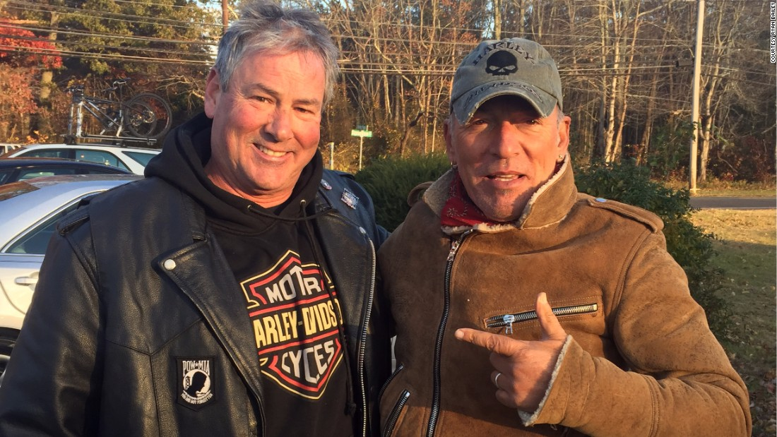 Dan Barkalow, a member of the Freehold American Legion - Monmouth Post 54, stopped when he saw a motorcycle rider stranded by the road. The stranded biker turned out to be rocker Bruce Springsteen, right, who invited Barkalow and his buddies for a round of drinks.