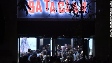 People leave the Bataclan concert hall in Paris on November 12, 2016, after the reopening concert by British musician Sting to mark the first anniversary of the November 13 Paris attacks. Rock star Sting reopens the Bataclan on November 12, the revered Paris concert hall where jihadists massacred 90 people, with a hugely symbolic show to mark the first anniversary of France's bloodiest terror attacks. Scores of survivors of the Bataclan assault -- the worst of the gun and suicide attacks across the city that night which left 130 dead -- will attend the concert, the dominant event in a weekend of otherwise low-key commemorations. / AFP / PHILIPPE LOPEZ        (Photo credit should read PHILIPPE LOPEZ/AFP/Getty Images)
