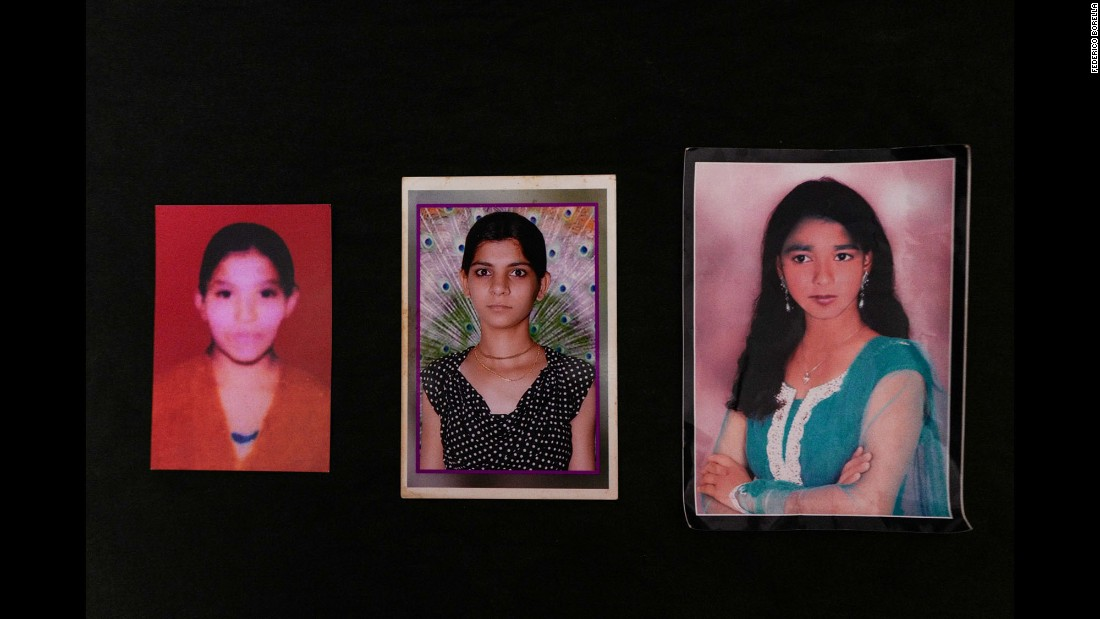 From left are portraits of Rupa, Ritu and Dolly before they were disfigured.