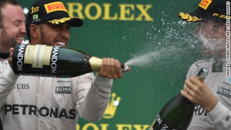 Another champagne moment for three-time F1 world champion Lewis Hamilton.