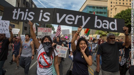 LOS ANGELES, CA - NOVEMBER 12: Protesters march in reaction to the upset election of Republican Donald Trump over Democrat Hillary Clinton in the race for President of the United States on November 12, 2016 in Los Angeles, California, United States. Hundreds of Angelenos have been arrested in recent days and some have vandalized property but the vast majority of the thousands of protesters have remain peaceful.  (Photo by David McNew/Getty Images)