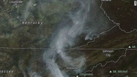 A NASA satellite image shows smoke from wildfires in Kentucky, North Carolina, Tennessee and Virginia.