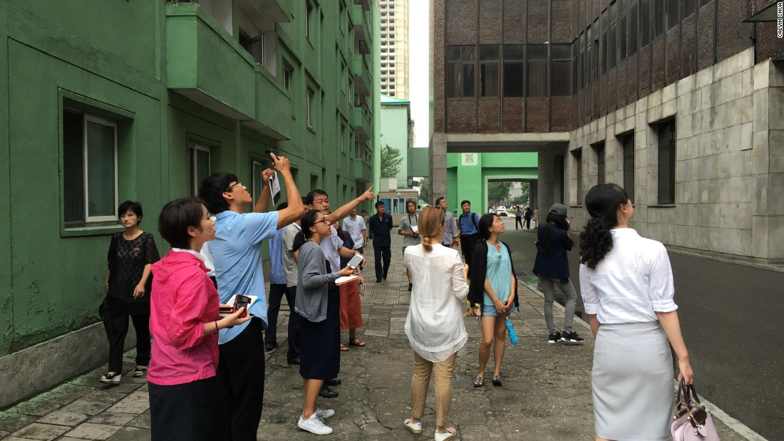 A group of international and local North Korean architecture students analyzing a project site during the AA Visiting School workshop in August 2016.