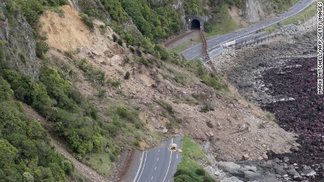 This aerial photo taken and received on November 14, 2016 shows earthquake damage to State Highway One near Ohau Point on the South Island's east coast. A powerful 7.8-magnitude earthquake killed two people and caused massive infrastructure damage in New Zealand, but officials said on November 14 they were optimistic the death toll would not rise further.  The jolt, one of the most powerful ever recorded in the quake-prone South Pacific nation, hit just after midnight near the South Island coastal town of Kaikoura. / AFP / POOL / Mark MITCHELL        (Photo credit should read MARK MITCHELL/AFP/Getty Images)