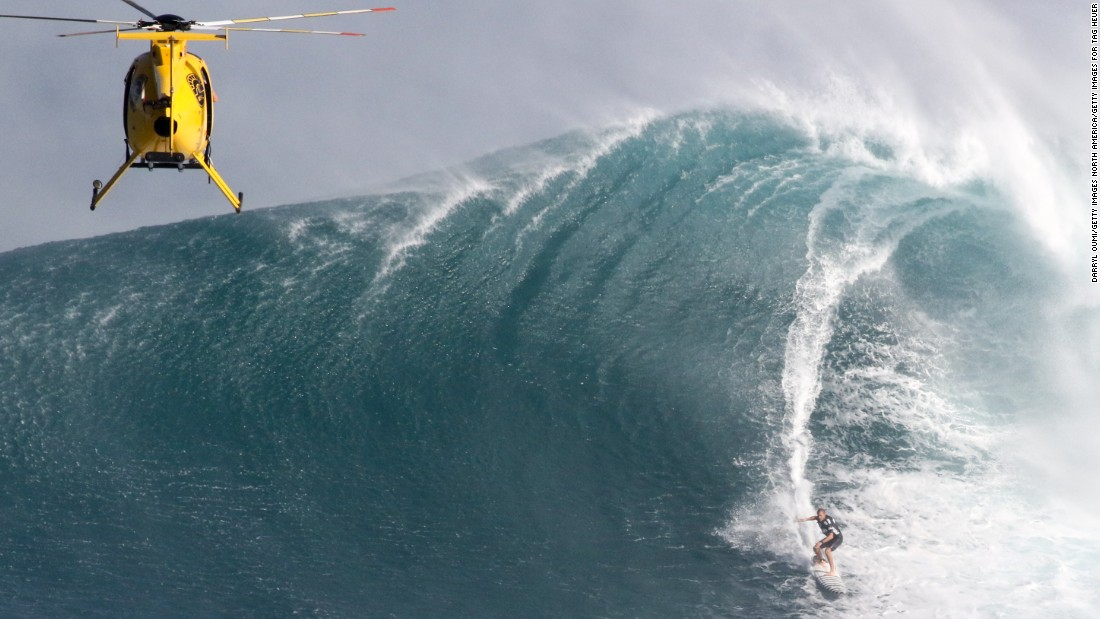 The waves at Jaws -- real name Peahi -- can sometimes reach 60ft high.