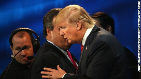 BOULDER, CO - OCTOBER 28:  Presidential candidates Donald Trump (R) speaks with New Jersey Gov, Chris Christie during a break at the the CNBC Republican Presidential Debate at University of Colorados Coors Events Center October 28, 2015 in Boulder, Colorado.  Fourteen Republican presidential candidates are participating in the third set of Republican presidential debates.  (Photo by Justin Sullivan/Getty Images)