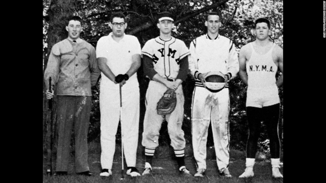Trump, center, wears a baseball uniform at the New York Military Academy in 1964. After he graduated from the boarding school, he went to college. He started at Fordham University before transferring and later graduating from the Wharton School, the University of Pennsylvania's business school.