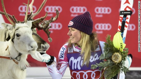 "CORRECTION - Mikaela Shiffrin of the US poses with a white reindeer named ""Mikaela"" she was given after winning the Ladies' FIS Alpine Skiing World Cup slalom race in Levi Kittilä, Finland on November 12, 2016. / AFP / Lehtikuva / Martti Kainulainen / Finland OUT / The erroneous mention appearing in the metadata of this photo by Martti Kainulainen has been modified in AFP systems in the following manner: [Mikaela Shiffrin of the US poses with a white reindeer named ""Mikaela"" she was given after winning the Ladies' FIS Alpine Skiing World Cup slalom race in Levi Kittilä, Finland on November 12, 2016. ] instead of [Mikaela Shiffrin of the US jokes with Santa Claus reindeer after winning the Ladies' FIS Alpine Skiing World Cup slalom race in Levi Kittilä, Finland on November 12, 2016.]. Please immediately remove the erroneous mention from all your online services and delete it  from your servers. If you have been authorized by AFP to distribute it  to third parties, please ensure that the same actions are carried out by them. Failure to promptly comply with these instructions will entail liability on your part for any continued or post notification usage. Therefore we thank you very much for all your attention and prompt action. We are sorry for the inconvenience this notification may cause and remain at your disposal for any further information you may require.        (Photo credit should read MARTTI KAINULAINEN/AFP/Getty Images)"