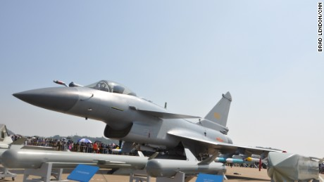 Chinese Air Force J-10 fighter on display an Airshow China in Zhuhai November 2016