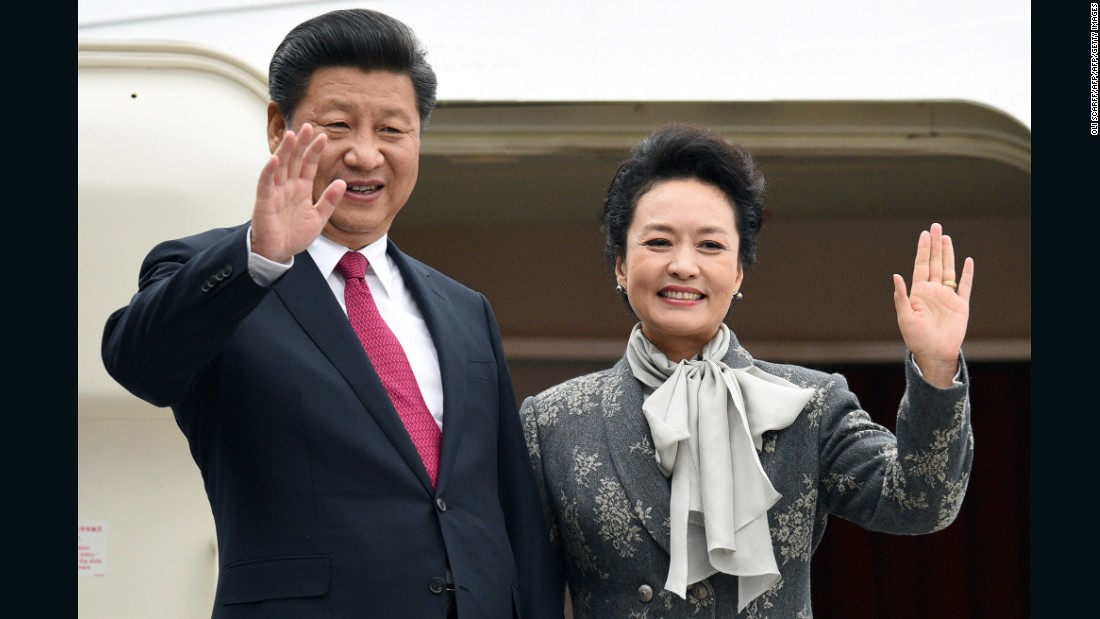 "Chinese President Xi Jinping and his wife Peng Liyuan. ""Like the traditional Chinese ink painting, the blank space between fabric and skin is where the beauty resides,"" designer Ma Ke says."