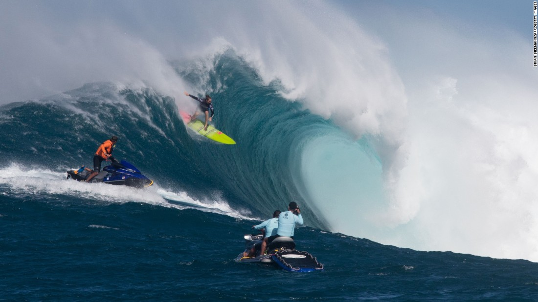 "Paige Alms surfs a big wave Friday, November 11, during the Pe'ahi Challenge, a surfing event at the infamous ""Jaws"" break off the Hawaiian island of Maui. For the first time ever, <a href=""http://www.cnn.com/2016/11/14/sport/big-wave-surfing-women-maui/index.html"" target=""_blank"">women competed there alongside the men.</a> Alms, a Maui native, won the women's competition."