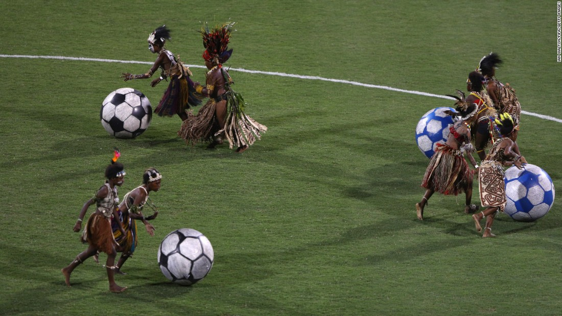 Performers push soccer balls during the opening ceremony of the Under-20 Women's World Cup on Sunday, November 13. The tournament is taking place in Papua New Guinea.