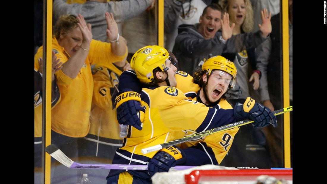Nashville forwards Filip Forsberg, left, and Ryan Johansen celebrate Forsberg's goal against Anaheim during an NHL hockey game on Saturday, November 12. The Predators won 5-0 for their third straight victory.