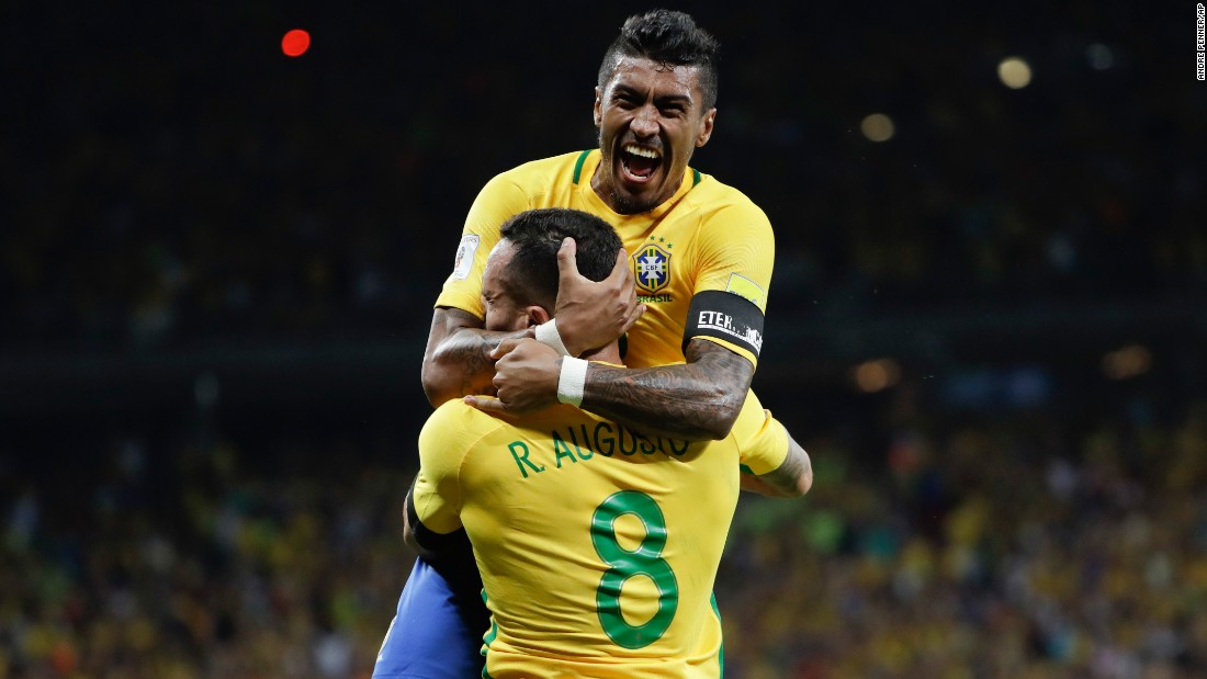 Brazilian soccer players Paulinho and Renato Augusto celebrate Paulinho's goal against Argentina on Thursday, November 10. Brazil defeated its rival 3-0 in the World Cup qualifier, which was played in Belo Horizonte, Brazil.
