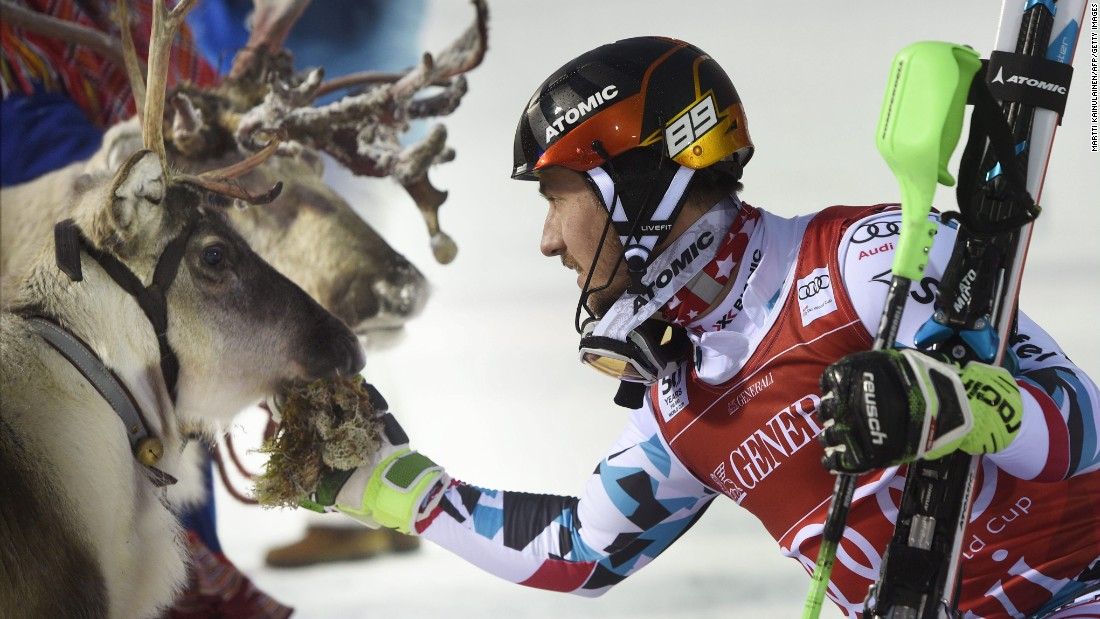 "The<a href=""http://cnn.com/2016/11/16/sport/alpine-skiing-world-cup-slalom-levi-finland-reindeer/"" target=""_blank""> tradition</a> extends to the men's competition, too. Marcel Hirscher of Austria greets his prize reindeer, Leo."