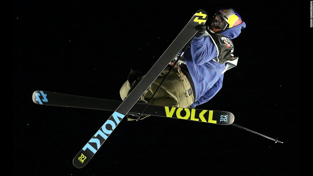 Freestyle skier Oystein Braaten competes in a World Cup event in Milan, Italy, on Friday, November 11. The Norwegian finished second in the big air competition.