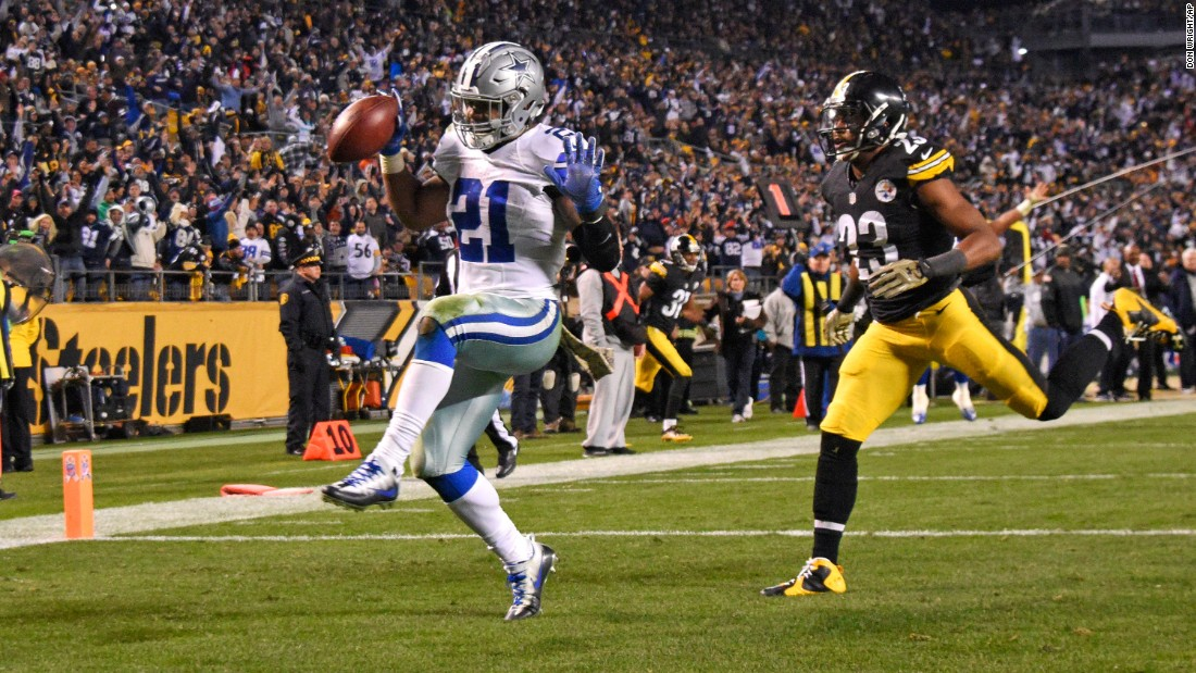 Dallas running back Ezekiel Elliott dances into the end zone after scoring the game-winning touchdown at Pittsburgh on Sunday, November 13. The Cowboys won 35-30 to improve their record to 8-1. Elliott, a rookie, leads the NFL in rushing yards (1,005).