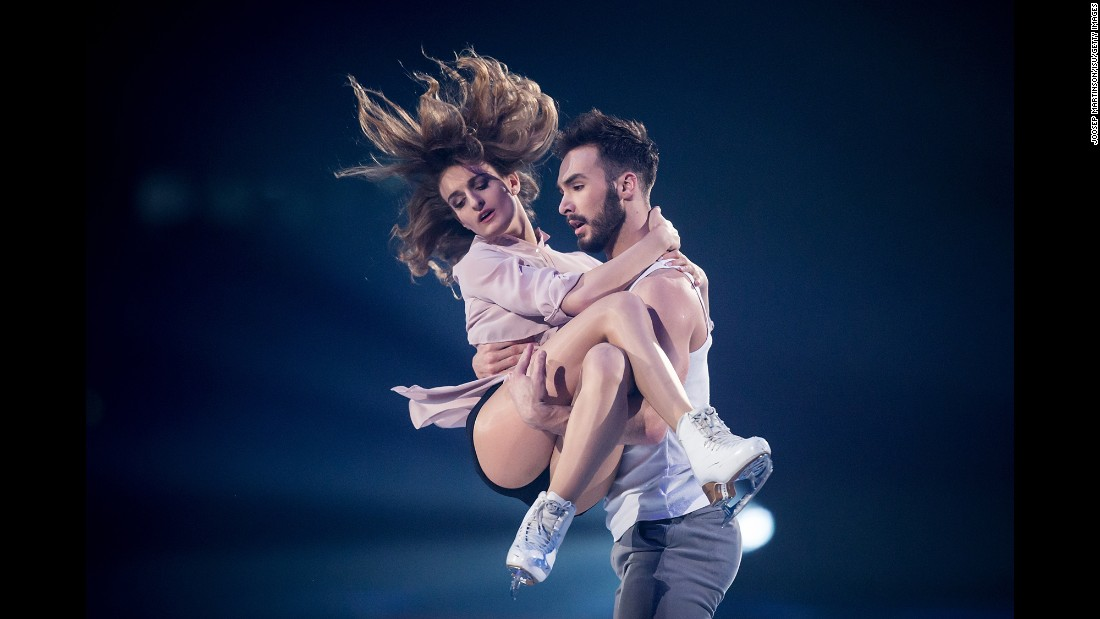 French ice dancers Gabriella Papadakis and Guillaume Cizeron perform during the gala exhibition of Paris' Grand Prix event on Sunday, November 13. The defending world champions finished in first place a day earlier.
