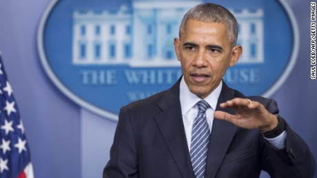 US President Barack Obama speaks during a press conference in the Brady Press Briefing Room of the White House in Washington, DC, November 14, 2016.