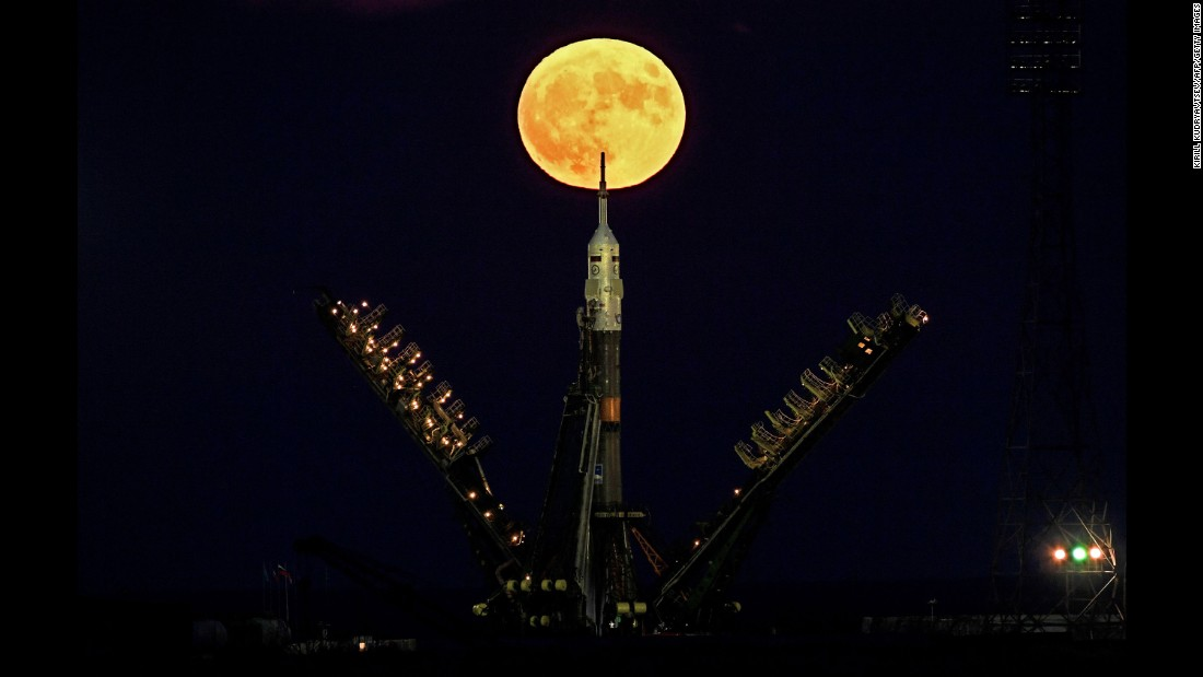 The supermoon is seen behind the Soyuz spacecraft at the Baikonur cosmodrome in Kazakhstan on November 14.