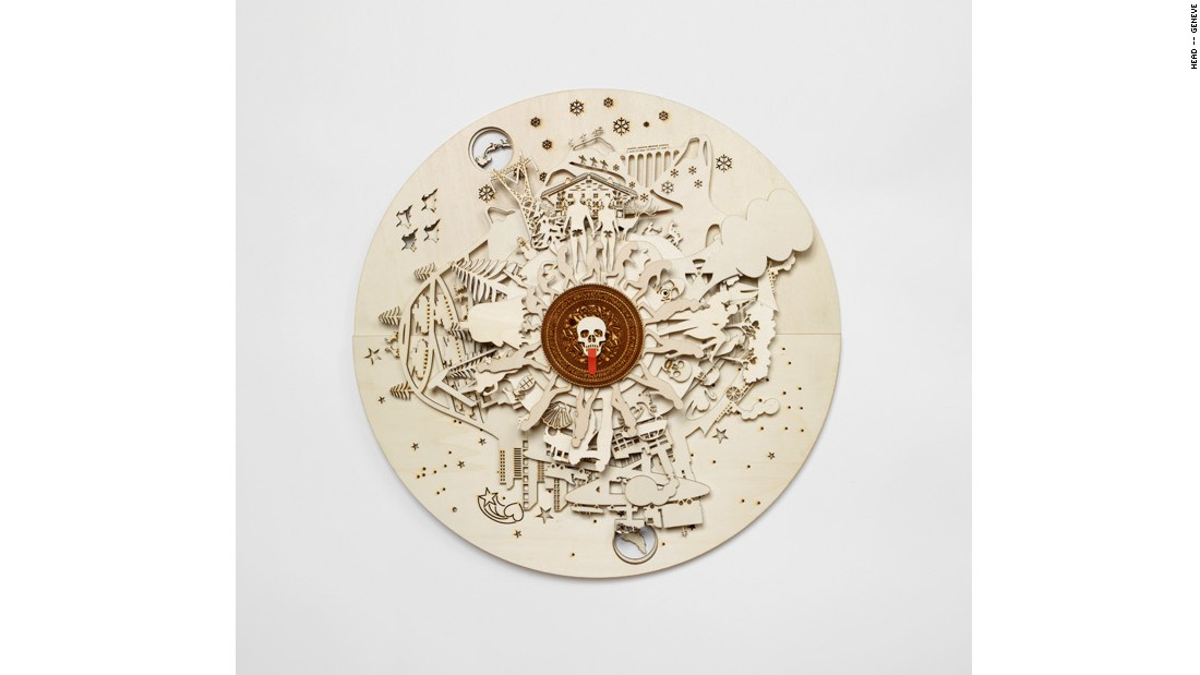 Claudio Colucci's clock, inspired by Jules Verne, tells the time, but also gives details about holidays, seasons, astrological signs and seasons on overlapping discs.