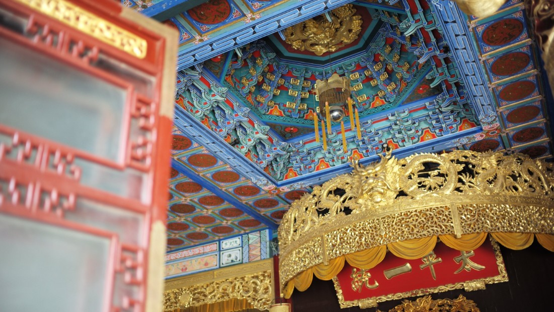Bearing gilded designs, elaborate temples and dragon themes, Taiping Rebellion leader Hong Xiuquan's quarters are among the most extravagant sections of the palace.