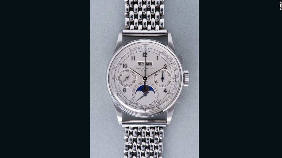 The rare, perpetual calendar, chronograph time piece was sold after a 13 minute bidding war and fetched more than three times its initial pre-sale price estimate.
